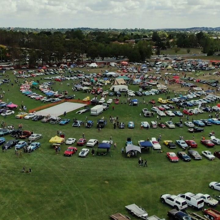 2020 Gnoo Blas Classioc Car Show aerial shot